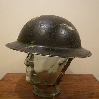 British WWII semi cammo Civil Defence steel helmet