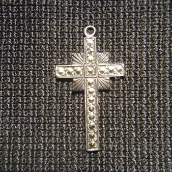 Vintage Sterling Silver Marcasite Crucifix Pendant, 1 1/2 inch (39 mm) tall