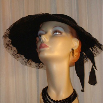 1950s Wool and Tulle Halston Halo Hat - Hats