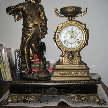 Antique Mantel Clock with Boy Violinist - Clocks