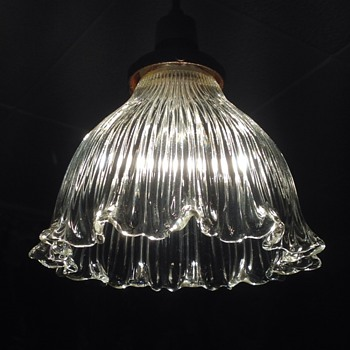 Old Holophane glass light shade. - Lamps