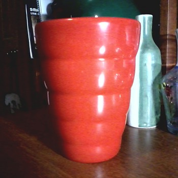 Bright Tomato Red Ribbed Vase / Made in Germany Circa 1990's  - Art Pottery