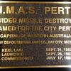 HMAS Perth DDG 38 Commissioning plaque