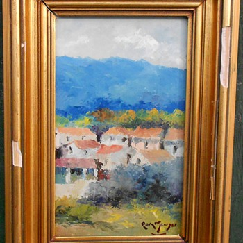 Impressionism Mountain Village Oil Painting  - Visual Art