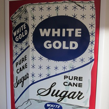 White Gold Pure Sugar Cane Porcelain Sign 1930's - Advertising