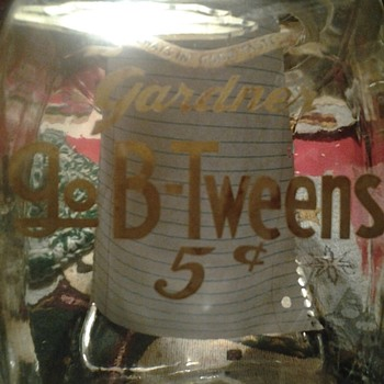 "Gardner ""Always In Good Taste"" 5 cents side loader jar"