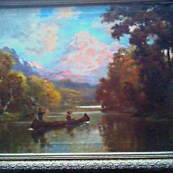 "Hudson River Style-Tonalist ""Moose Hunting on the River"" (?) Oil on Canvas 33 "" x 27 "" Framed /Unsigned Circa 19th-20th Century - Visual Art"