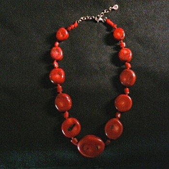 """Barse"" Dyed Red Bamboo Coral Necklace / Circa 21st Century - Fine Jewelry"