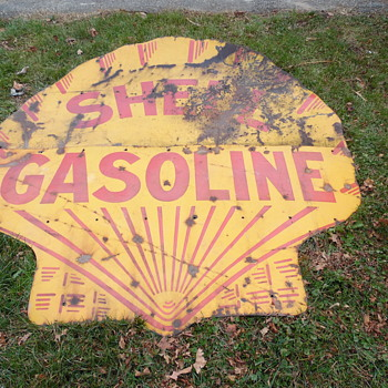 Early Shell Gasoline 2 Piece 6' Sign - Petroliana