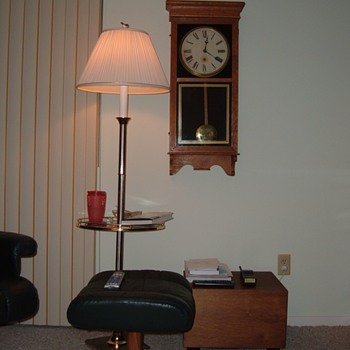 "Two Regulator wall clocks.  One on left is 35"" tall...The Waterbury on the right is about 31"" tall...Both run. - Clocks"