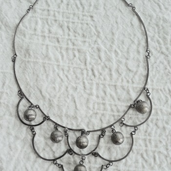 Vintage Mexican Silver Bib Necklace