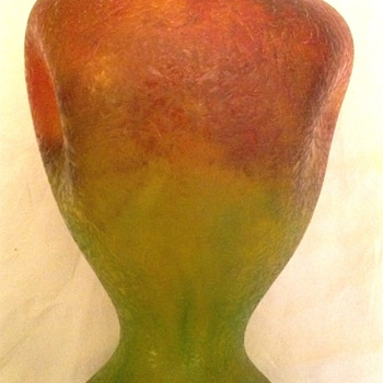 Czech : Chipped Ice / Glue Chip Red and Green Pinched Vase - Art Glass
