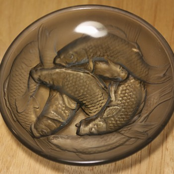 Deeply Carved Glass Bowls with Carp Motif - Art Glass