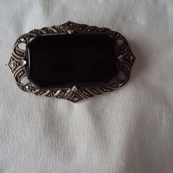 Onyx and Marcasite Brooch - Fine Jewelry
