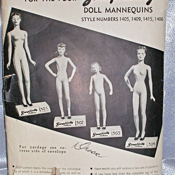 Patterns and photo of manikins 1940's  from Simplicity  - Sewing