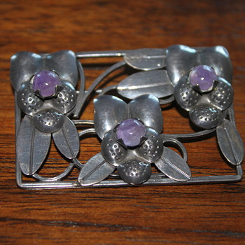 Sterling Silver and Cabochan Amathyst Brooch - Fine Jewelry