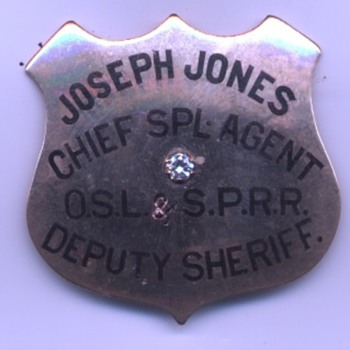 14K gold with large diamond presentation badge for Joseph Jones Chief Special Agent of the Oregon Short Line & SP Railroad Co.