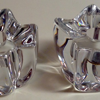 Daum France Crystal Candle Holders - Art Glass