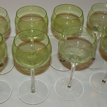 8 delicate green glass white wine? glasses Info requested