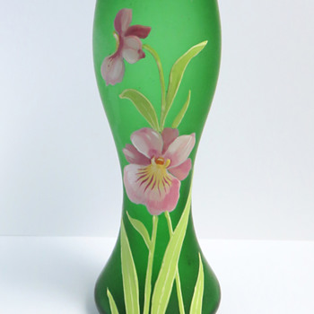Goldberg Green vase with Enameled Orchid