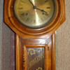 Antique Regulator  oak wall clock, brass surface, engraved flower