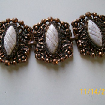 Vintage Bracelet , Copper ,and White Stone , Unknown