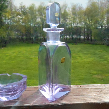 Bohemian Alexandrite Decanter and Ashtray
