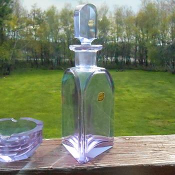 Bohemian Alexandrite Decanter and Ashtray - Art Glass