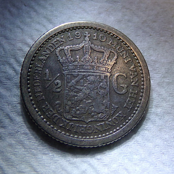 1910 1/2 Gulden, Netherlands - World Coins