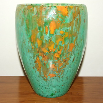 Mottled Green & Orange Glass Vase with Gold Aventurine