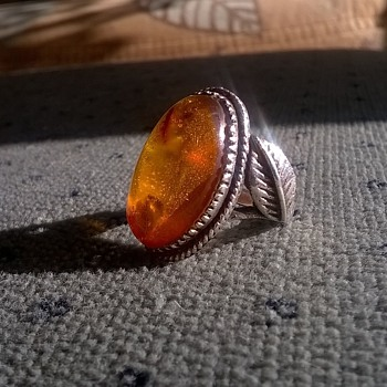 Vintage Sterling Amber Leaf Ring & Sterling Scarab/Garnet/Marcasite Ring - Fine Jewelry