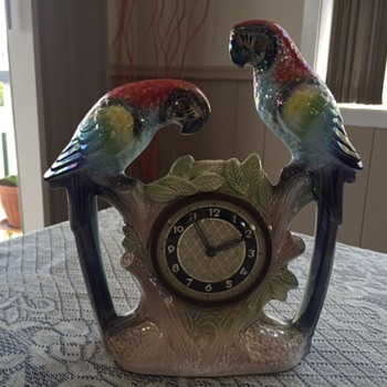 Jema Holland Medium Mantle Clock of Twin Macaws numbered (443 - Clocks