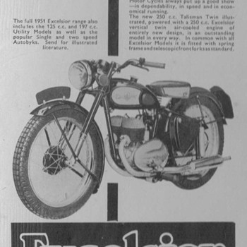 1950 Excelsior Motorcycle Advertisement - Advertising