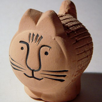 Lisa Larson? Pottery Cat with Holes, Stopper bottom,...Swedish? - Art Pottery