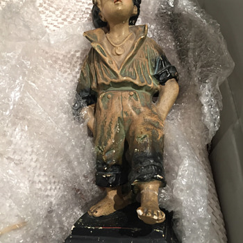 Strolling boy, plaster statue early 1900s?