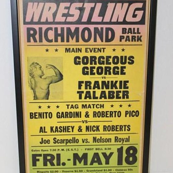 Vintage 1950's Professional Wrestling Poster - Feat. Gorgeous George  - Posters and Prints