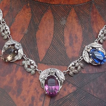 Bernard Instone silver and multi stone Necklace - Art Deco