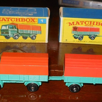 Matchbox #1 Mercedes Truck and  #2 Mercedes Trailer - Model Cars