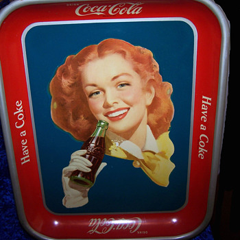 1950's Red Headed Girl - Rare Solid Background - Coca-Cola