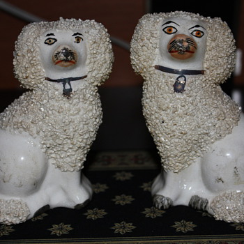 STAFFORDSHIRE WARE ENGLAND ROUGH COAT DOGS - China and Dinnerware