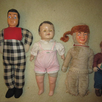 Four Old Antique Mystery Porcelain Stuffed Dolls