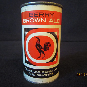 Tough 1950's UK Imperial 12 Fl Ozs Berry Brown Ale Courage Barclay and Simonds Rooster Flat Top Steel Beer Can
