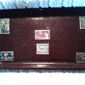 Interesting Old Stamps Decoupaged to an Old Fiber Board Food Container Tray - Stamps