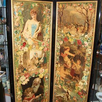 3 Fold Scrap Screen circa 1885 Victorain