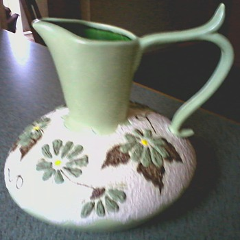 Large Matte Green and Textured White Raised Floral Design Pitcher /Circa 1971 - Art Pottery