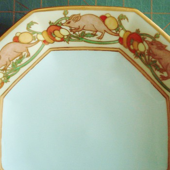 T&V Limoges Handpainted Plate with Rats!