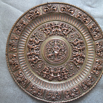 Indian brass plate. - Asian