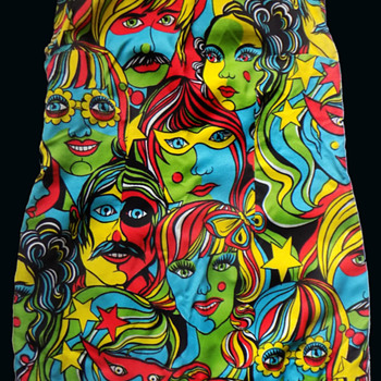 1960s - early '70s Psychedelic Mini Dress