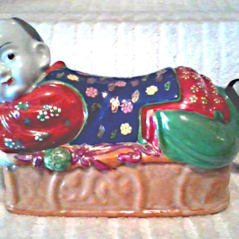 Chinese Pillow Boy Lidded Box / Hand Painted / Hong Kong Circa 20th Century