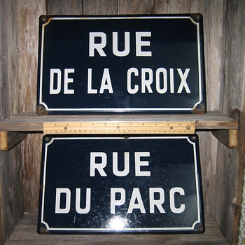 France Porcelain Enamel Street Sign x 2 - Signs
